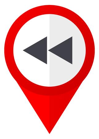 Rewind red web pointer icon. Webdesign button on white background. Stock Photo