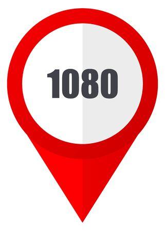 1080 red web pointer icon. Webdesign button on white background.
