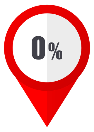 0 percent red web pointer icon. Webdesign button on white background. Stock Photo