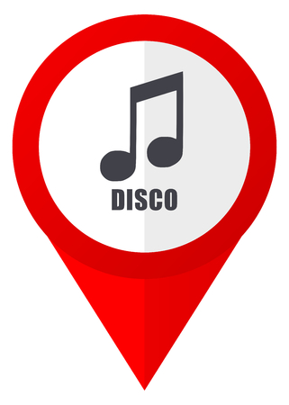 Disco music red web pointer icon. Webdesign button on white background. Stock Photo