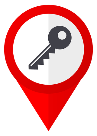 Key red web pointer icon. Webdesign button on white background.