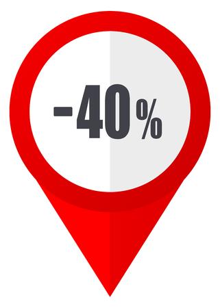 40 % 판매 소매 빨간색 웹 포인터 아이콘. 흰색 배경에 Webdesign 단추입니다. 스톡 콘텐츠