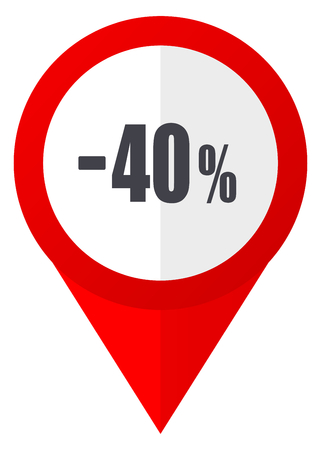 40 percent sale retail red web pointer icon. Webdesign button on white background.
