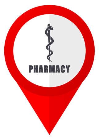 Pharmacy red web pointer icon. Webdesign button on white background.