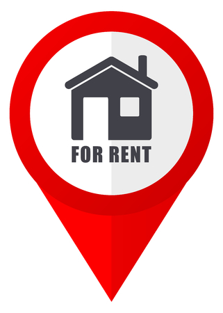 For rent red web pointer icon. Webdesign button on white background.