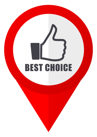 Best choice red web pointer icon. Webdesign button on white background.