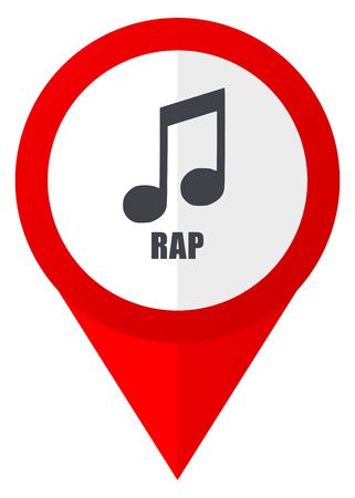 Rap music red web pointer icon. Webdesign button on white background.