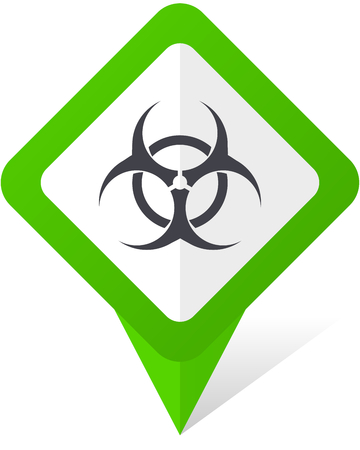 Biohazard green square pointer vector icon in eps 10 on white background with shadow.