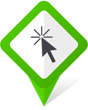 Click here green square pointer vector icon in eps 10 on white background with shadow. Illustration