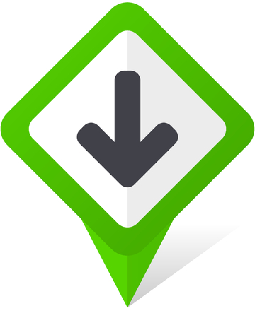 Download arrow green square pointer vector icon in eps 10 on white background with shadow. Vectores