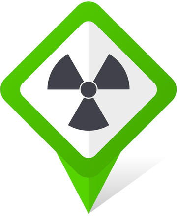 Radiation green square pointer vector icon in eps 10 on white background with shadow. Illustration