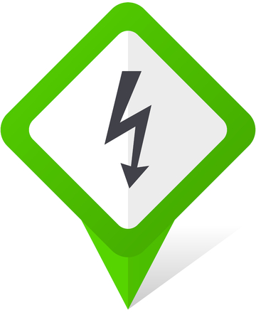 Bolt green square pointer vector icon in eps 10 on white background with shadow.