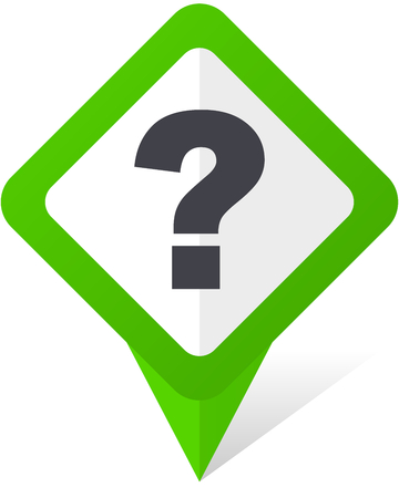 Question mark green square pointer vector icon in eps 10 on white background with shadow. Illustration