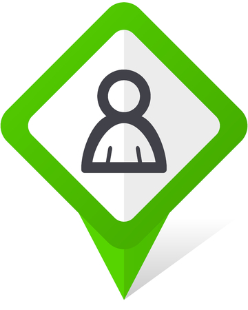 Person green square pointer vector icon in white background with shadow.