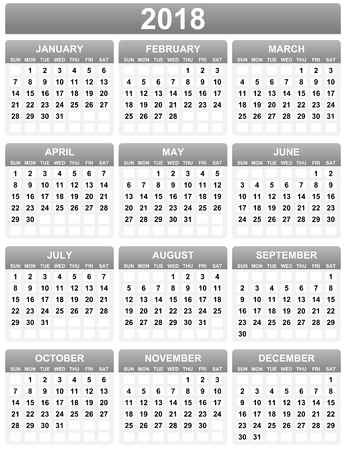 Simple calendar template for year 2018. Horizontal album orientation and week starts Sunday
