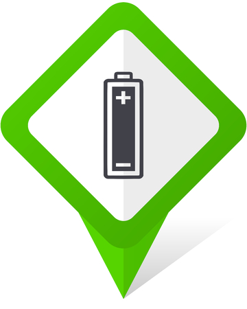 Battery green square pointer vector icon in eps 10 on white background with shadow.