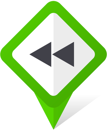 Rewind green square pointer vector icon in eps 10 on white background with shadow.