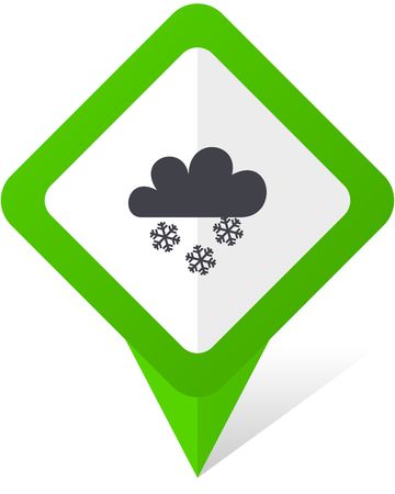 Snowing green square pointer vector icon in eps 10 on white background with shadow.
