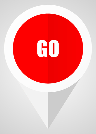 Go vector icon. White and red web pointer in eps 10 for webdesign and smartphone applications.