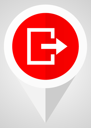 Exit vector icon. White and red web pointer in eps 10 for webdesign and smartphone applications. Illustration