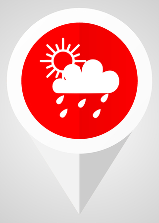 Rain vector icon. White and red web pointer in eps 10 for webdesign and smartphone applications.