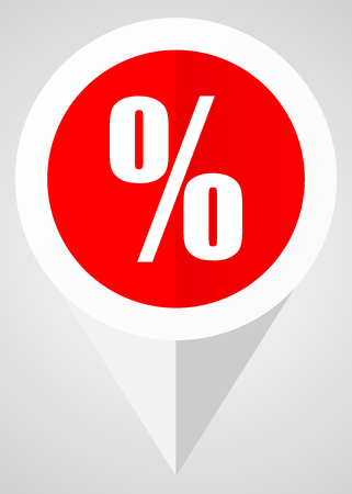 points of interest: Percent vector icon. White and red web pointer in eps 10 for webdesign and smartphone applications. Illustration