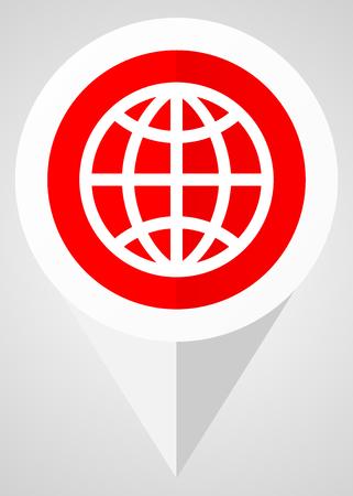 Erde-Vektor-Symbol. Weißer und roter Netzzeiger in ENV 10 für Webdesign- und Smartphone-Anwendungen. Standard-Bild - 86735717