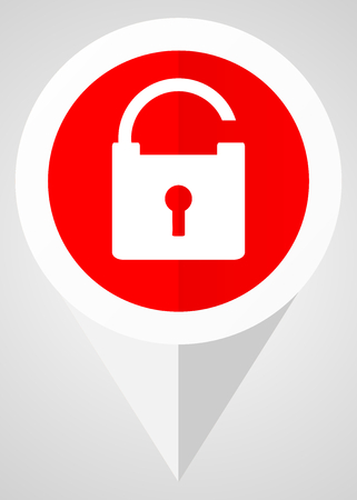 trusted: Padlock vector icon. White and red web pointer in eps 10 for webdesign and smartphone applications.