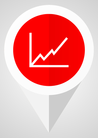 points of interest: Chart vector icon. White and red web pointer in eps 10 for webdesign and smartphone applications.