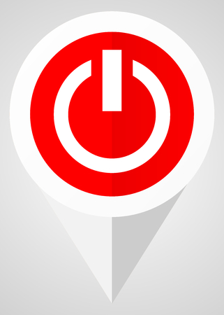 Power vector icon. White and red web pointer in eps 10 for webdesign and smartphone applications. Illustration