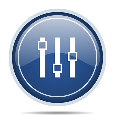audio mixer: Slider blue round web icon. Circle isolated internet button for webdesign and smartphone applications.
