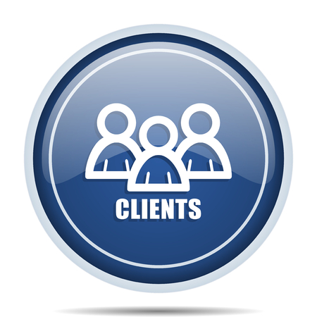 web marketing: Clients blue round web icon. Circle isolated internet button for webdesign and smartphone applications.