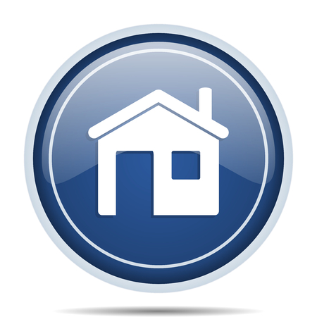 residential: House blue round web icon. Circle isolated internet button for webdesign and smartphone applications. Stock Photo