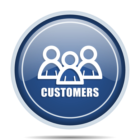 web marketing: Customers blue round web icon. Circle isolated internet button for webdesign and smartphone applications.