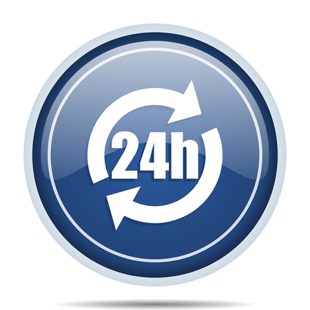 web marketing: 24h blue round web icon. Circle isolated internet button for webdesign and smartphone applications.