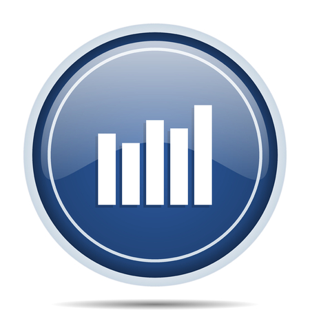web marketing: Graph blue round web icon. Circle isolated internet button for webdesign and smartphone applications.