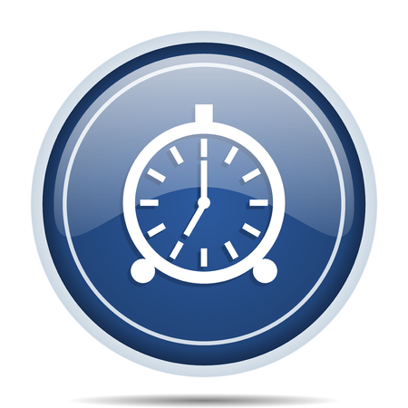 clock: Alarm blue round web icon. Circle isolated internet button for webdesign and smartphone applications.