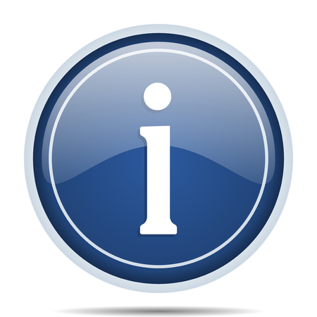 web marketing: Information blue round web icon. Circle isolated internet button for webdesign and smartphone applications.