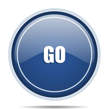 web marketing: Go blue round web icon. Circle isolated internet button for webdesign and smartphone applications.