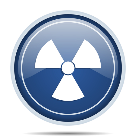 Radiation blue round web icon. Circle isolated internet button for webdesign and smartphone applications. Stock Photo