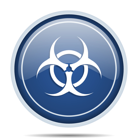 riesgo biologico: Biohazard blue round web icon. Circle isolated internet button for webdesign and smartphone applications. Foto de archivo