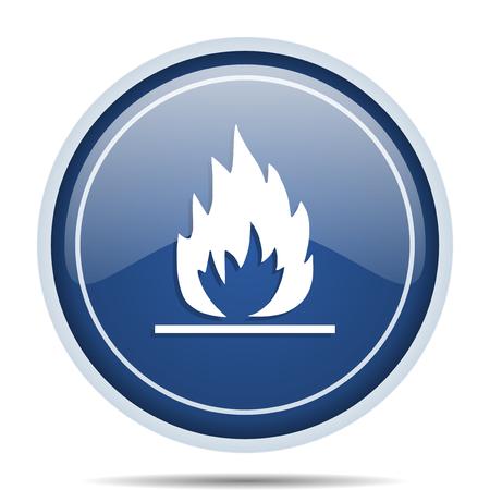 fireplace: Flame blue round web icon. Circle isolated internet button for webdesign and smartphone applications.