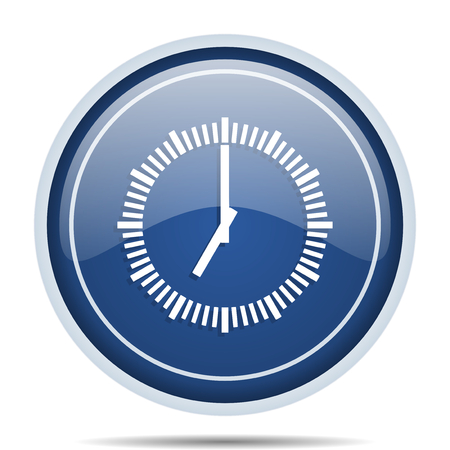 clock: Time blue round web icon. Circle isolated internet button for webdesign and smartphone applications.