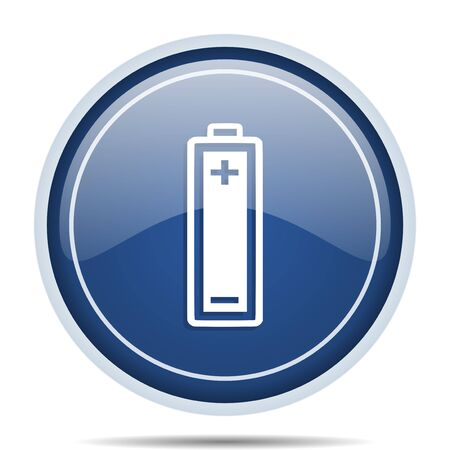 Battery blue round web icon. Circle isolated internet button for webdesign and smartphone applications.