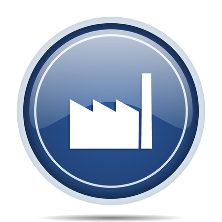 Factory blue round web icon. Circle isolated internet button for webdesign and smartphone applications. Stock Photo