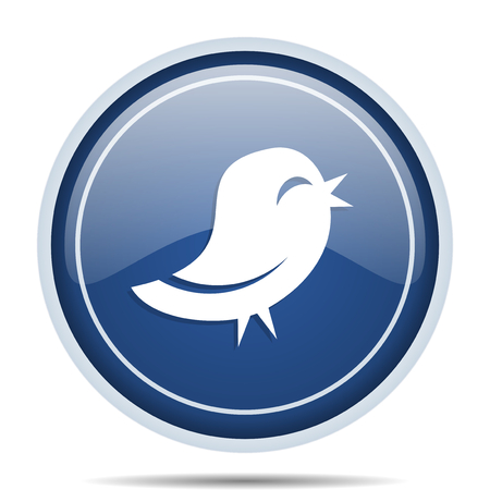 Twitter blue round web icon. Circle isolated internet button for webdesign and smartphone applications.