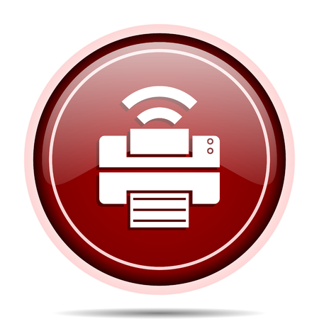 Printer red glossy round web icon. Circle isolated internet button for webdesign and smartphone applications. 版權商用圖片