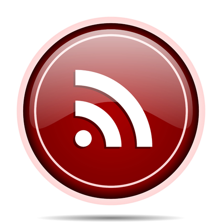 Rss red glossy round web icon. Circle isolated internet button for webdesign and smartphone applications. Stock Photo