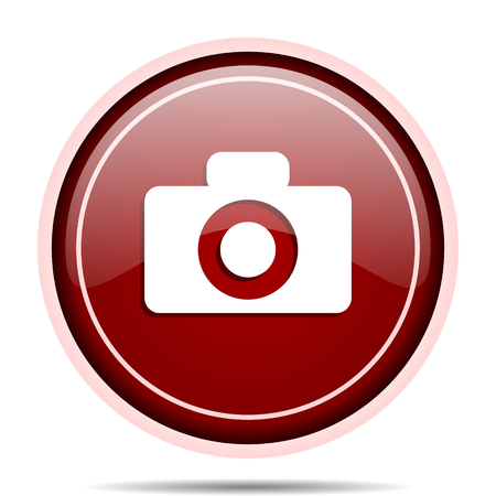 Camera red glossy round web icon. Circle isolated internet button for webdesign and smartphone applications. Stock Photo