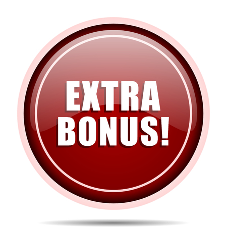 discounting: Extra bonus red glossy round web icon. Circle isolated internet button for webdesign and smartphone applications. Stock Photo